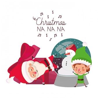 Babbo natale ed elfo con sfera di cristallo