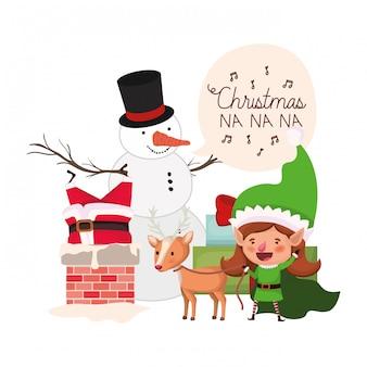 Babbo natale ed elfo donna con pupazzo di neve
