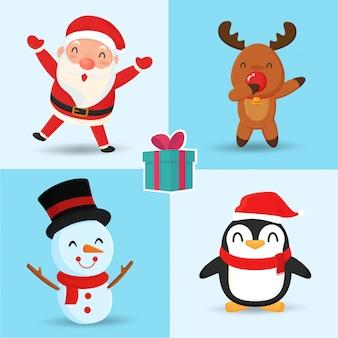 Babbo natale renna pupazzo di neve e pinguino simpatici personaggi dei cartoni animati.