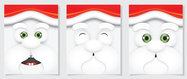 Babbo natale simpatico stile cartoon di espressione facciale.