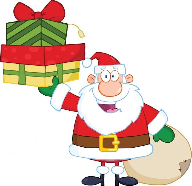 Babbo natale sorridente alzando una pila di regali