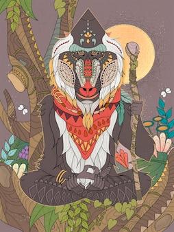Babbuino anziano della saggezza a gambe incrociate nella pagina da colorare per adulti dell'albero
