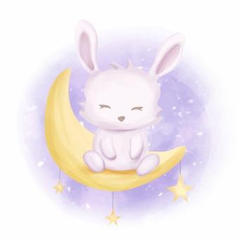 Baby coniglio nella luna
