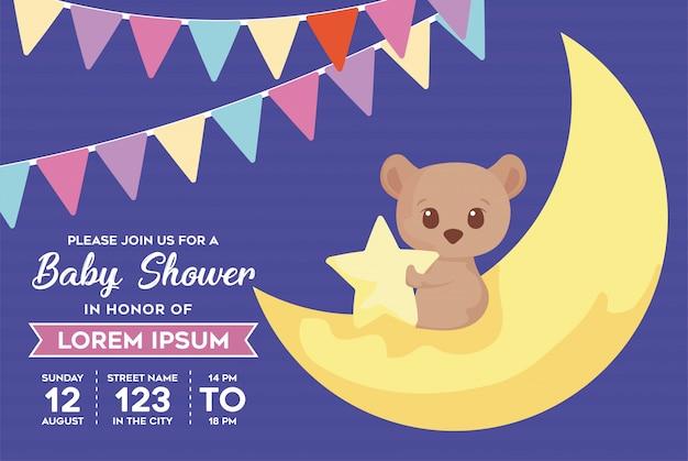 Baby doccia invito con orso cartoon
