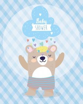 Baby doccia simpatico orso e nuvola con pioggia di cuori