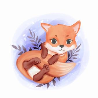 Baby fox adorabile gioca con la sua coda