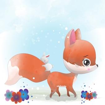Baby fox simpatico personaggio dipinto con acquerello