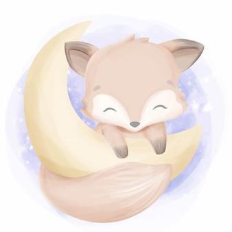 Baby foxy feel happy on the moon