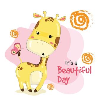 Baby giraffe con una farfalla
