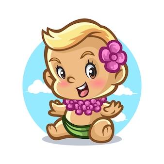 Baby hawaiian mascot design