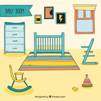 Baby room con buggy e accessori