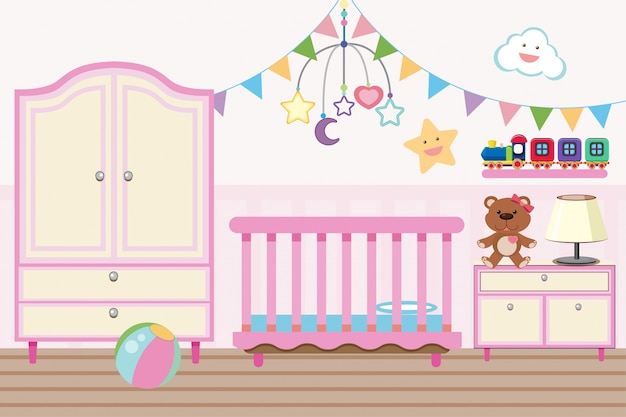Baby room con culla e armadio