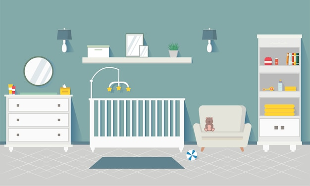 Baby room con mobili. interiore della scuola materna interiore alla moda. la stanza dei bambini. appartamento design per neonato.