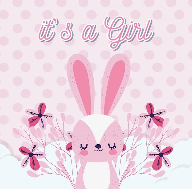 Baby shower amore rosa coniglio carino con fiori nuvole puntini decorazione biglietto di auguri