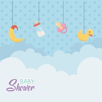 Baby shower card con accessori appesi