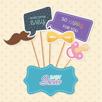 Baby shower card con accossories e messaggi in stick