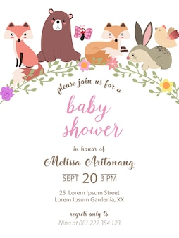 Baby shower card con adorabili animali