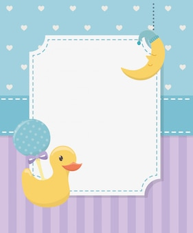 Baby shower card con anatra in gomma e accessori