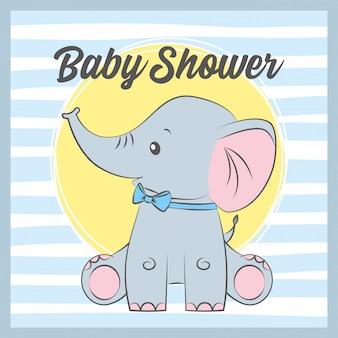 Baby shower card con elefante carino