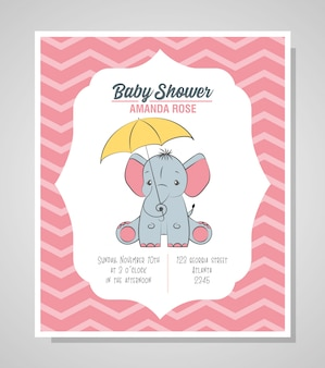 Baby shower card con elefante carino