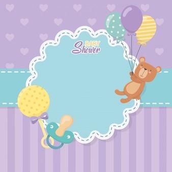 Baby shower card con orsacchiotto e palloncini elio
