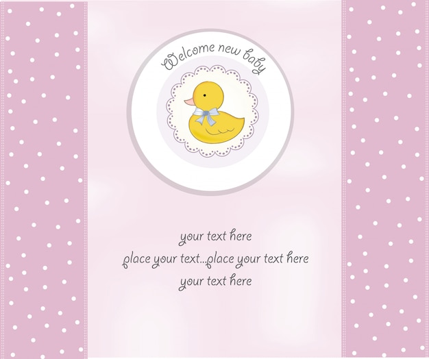 Baby shower card con piccola anatra