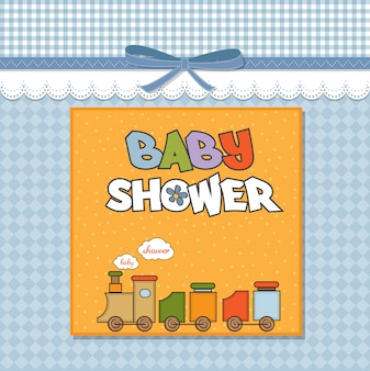 Baby shower card con trenino