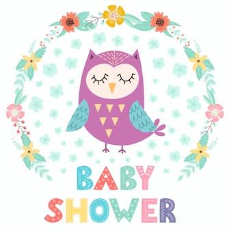 Baby shower card con un simpatico gufo.