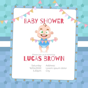 Baby shower card per ragazzo in stile cartoon