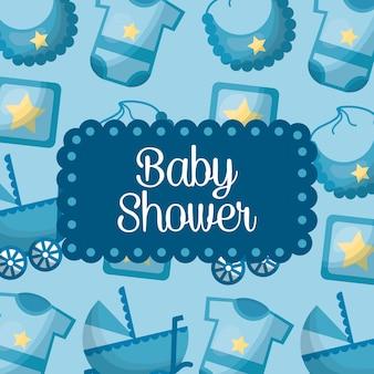 Baby shower celebrazione ragazzo nato bib blu sfondo vestiti