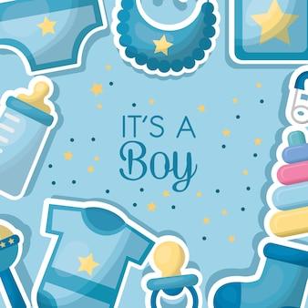 Baby shower celebrazione vestiti bib bottiglia latte sfondo nato ragazzo