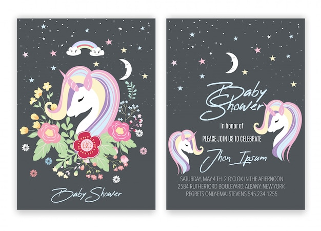 Baby shower con unicorno decorativo floreale a forma di unicorno.