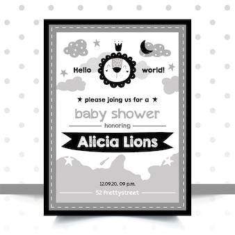 Baby shower invito in stile scandinavo. un leone.