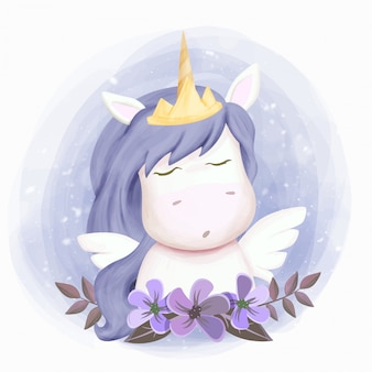 Baby unicorn and pair of wings