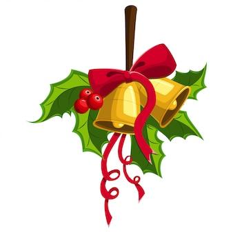 Bacca di agrifoglio con due campane d'oro, fiocco rosso. decorazioni natalizie per le vacanze.