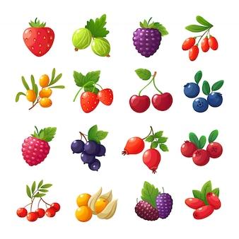 Bacche di cartone animato. fragole, lamponi, ciliegie, uva spina, mirtilli, mirtilli messi isolati su bianco