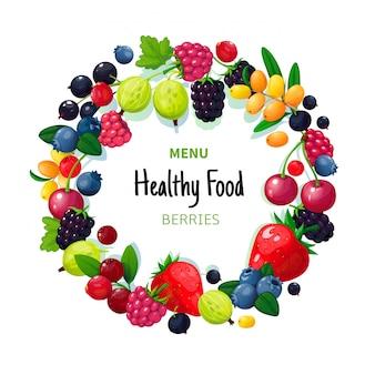 Bacche e frutti organici freschi di estate. fragola mirtillo uva spina mora lampone. caffè vegano cibo sano
