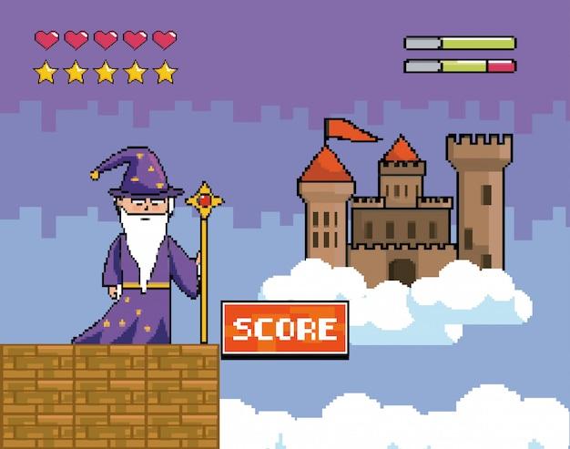 Bacchetta magica con barre di castello e cuori