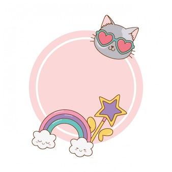 Bacchetta magica con cornice rotonda nuvola e arcobaleno