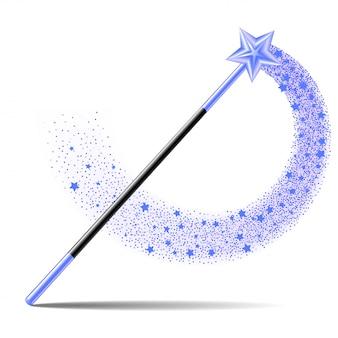 Bacchetta magica con stella blu con scia di scintilla magica su sfondo bianco.