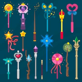 Bacchetta magica vettore bastone miracolo fantasia mago principessa mago