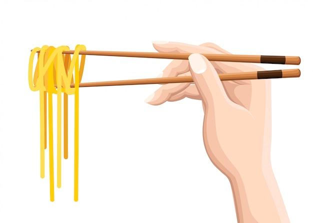Bacchette che tengono le tagliatelle cinesi. su sfondo bianco. moderna illustrazione del logotipo