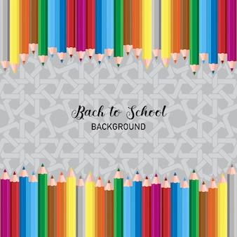 Back to school background, composizione a matita colorata