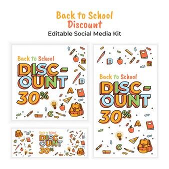 Back to school discount social media banner