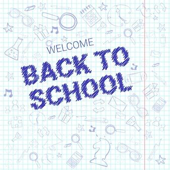 Back to school doodle etichetta disegnata a mano su sfondo a quadretti di carta notebook