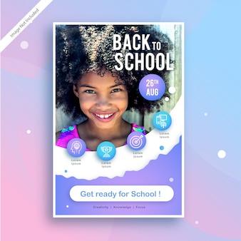 Back to school modello di modello di pubblicità o poster quadrato