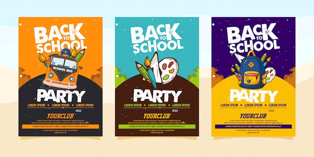 Back to school party modello di volantino o poster