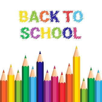Back to school poster pastelli colorati matite pennellate