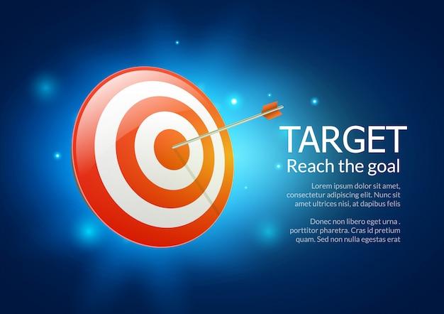 Backgorund di scopo dell'illustrazione di affari dell'obiettivo. successo dell'obiettivo della freccia di prestazione di obiettivo di affari