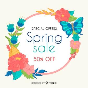 Backgound di vendita di primavera cornice floreale disegnato a mano